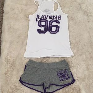 PINK, baltimore ravens pj set tank top and shorts